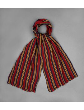 Red Navy And Yellow Regimental Stripe Crinkle Scarf by Drake's