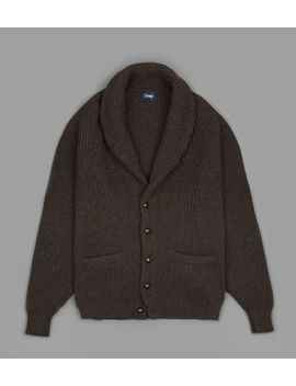 Cocoa Lambswool Shaw Collar Cardigan by Drake's