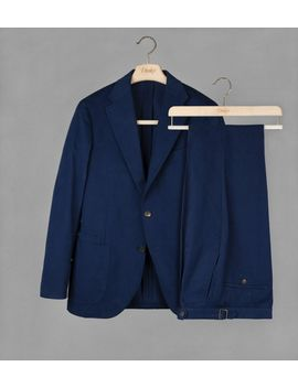 Navy Cotton Twill Suit by Drake's