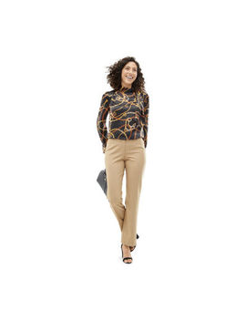 Shades Of Brown: Worthington Black Bond Tie Neck Blouse With Tennyson Brown Straight Leg Pant by Worthington