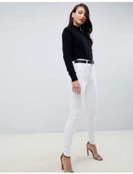 Asos Design Tall – Ridley – Enge Jeans Mit Hohem Bund In Optischem Weiß by Asos