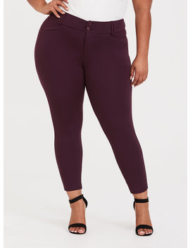 Studio Signature Premium Ponte Ankle Skinny Pant   Burgundy Purple by Torrid