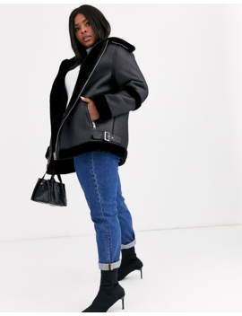 Asos Design Curve Bonded Aviator Coat In Black by Asos Design