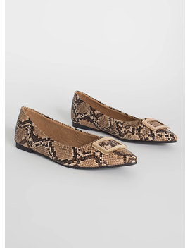 Buckle My Faux Snake Pointy Flats by Go Jane