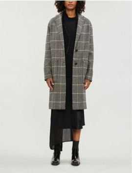 Anya Aurora Checked Wool Blend Coat by Allsaints