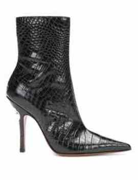 Croc Effect Leather Ankle Boots by Vetements