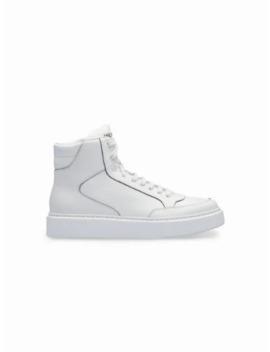 Embossed Logo Hi Top Sneakers by Prada