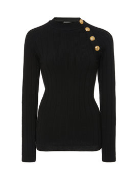 Button Trimmed Wool Cashmere Sweater by Balmain