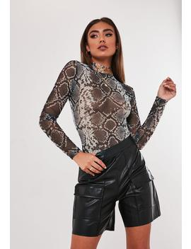 Jordan Lipscombe X Missguided Gray Snake High Neck Mesh Bodysuit by Missguided