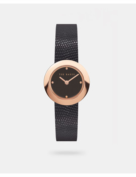 Lizard Print Leather Strap Watch by Ted Baker