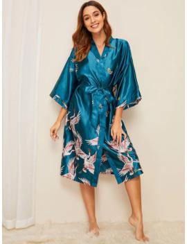 Robe De Chambre Ceinturée En Satin à Imprimé Grue by Romwe