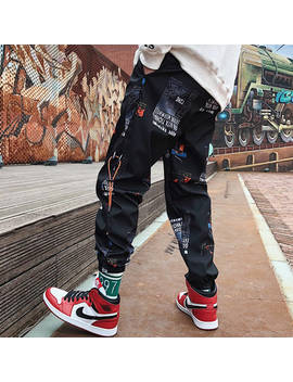 Hip Hop Pants Men Loose Joggers Print Streetwear Harem Pants Clothes Ankle Length Trousers by Ali Express.Com