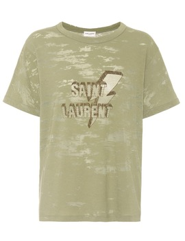 T Shirt Imprimé En Coton Mélangé by Saint Laurent