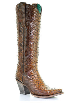 Corral Women's Tan Tall Full Python Zipper Cowgirl Boots   Snip Toe by Corral