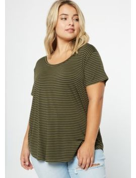 Plus Olive Striped Scoop Neck Essential Tee by Rue21