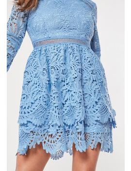 Blue Lace Frill Double Layer Skater Dress by Missguided
