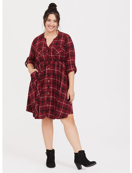 Red Plaid Challis Button Front Shirt Dress by Torrid