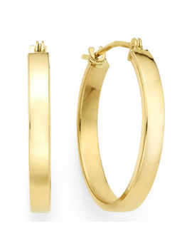 14 K Yellow Gold 19.9mm Flat Hoop Earrings by Fine Jewelry