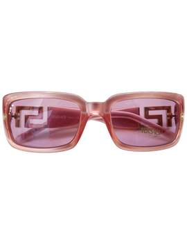 1990s Versace Pink Greek Key Rectangle Sunglasses by 1 Stdibs