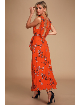 Try Again Red Orange Floral Print Pleated Chiffon Maxi Dress by Lulus