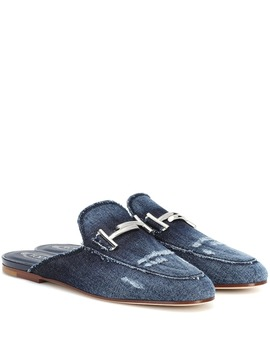 Distressed Denim Slippers by Tod's
