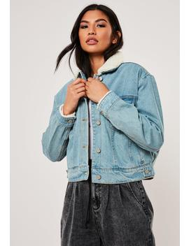 Blue Jean Grazer Borg Lined Denim Jacket by Missguided