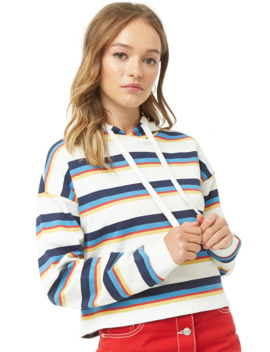 Striped French Terry Hoodie by Forever 21