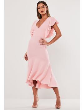 Blush Ruffle Hem Fishtail Midi Dress by Missguided