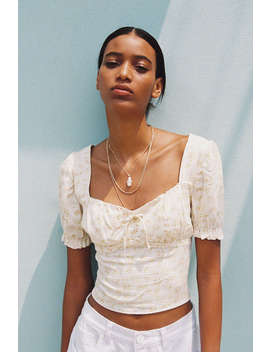 Uo Cassia Puff Sleeve Tie Front Cropped Top by Urban Outfitters