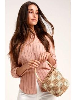 Peck Beige Woven Mini Basket Bag by Lulus