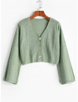 Hot Sale Cropped Pointelle Knit Button Up Cardigan   Green by Zaful