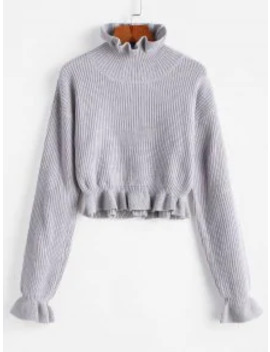 Popular Sale Solid Ruffled Pullover Sweater   Platinum M by Zaful
