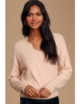 Hopeless Romantic Blush Pink Eyelash Knit Surplice Sweater by Lulus