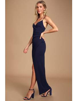 Sweetest Admirer Navy Blue Ruched Surplice Maxi Dress by Lulus