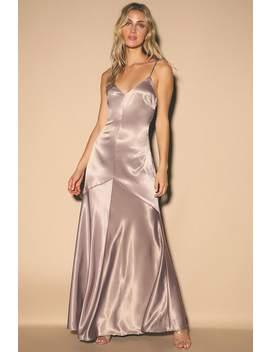 Buena Dusty Lavender Satin Sleeveless Maxi Dress by Lulus