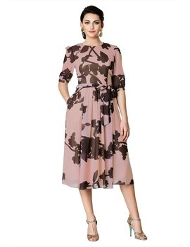 Floral Print Georgette Midi Dress by Eshakti