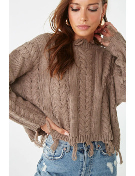 Cable Knit Tassel Fringe Sweater by Forever 21