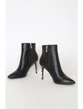 Selenah Black Snake Pointed Toe Ankle Booties by Lulus