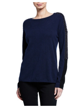 Embellished Colorblock Cashmere Sweater by Neiman Marcus Cashmere Collection