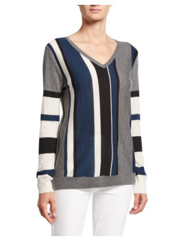 Block Stripe V Neck Long Sleeve Cashmere Sweater by Neiman Marcus Cashmere Collection
