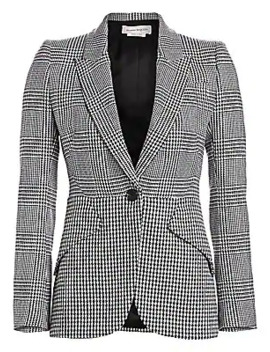 Houndstooth & Prince Of Wales Wool Jacket by Alexander Mc Queen