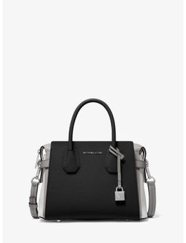 Mercer Small Tri Tone Pebbled Leather Belted Satchel by Michael Michael Kors
