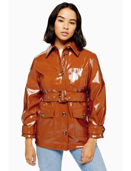 Petite Chicago Brown Belted Vinyl Coat by Topshop