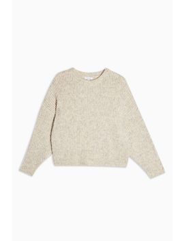 Oatmeal Knitted Crew Neck Jumper by Topshop