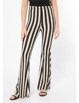 Black Striped Super Soft Flare Pants by Rue21