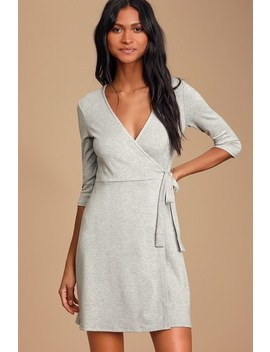 All At Once Light Grey Three Quarter Sleeve Wrap Dress by Lulus