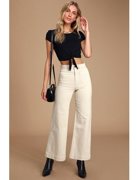 Sailor Cream High Rise Wide Leg Jeans by Rolla's
