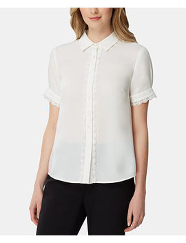 Lace Trim Short Sleeve Blouse by General