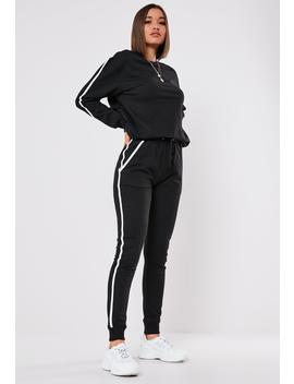 Black Co Ord Contrast Binding Joggers by Missguided
