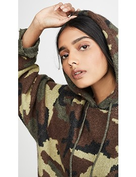 Camo Cashmere Hoodie Sweater by R13
